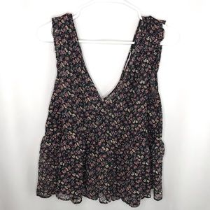 American Eagle Floral Ruffle Tank - Size Large